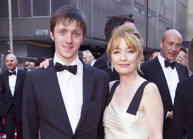 Lesley Manville with her son Alfie