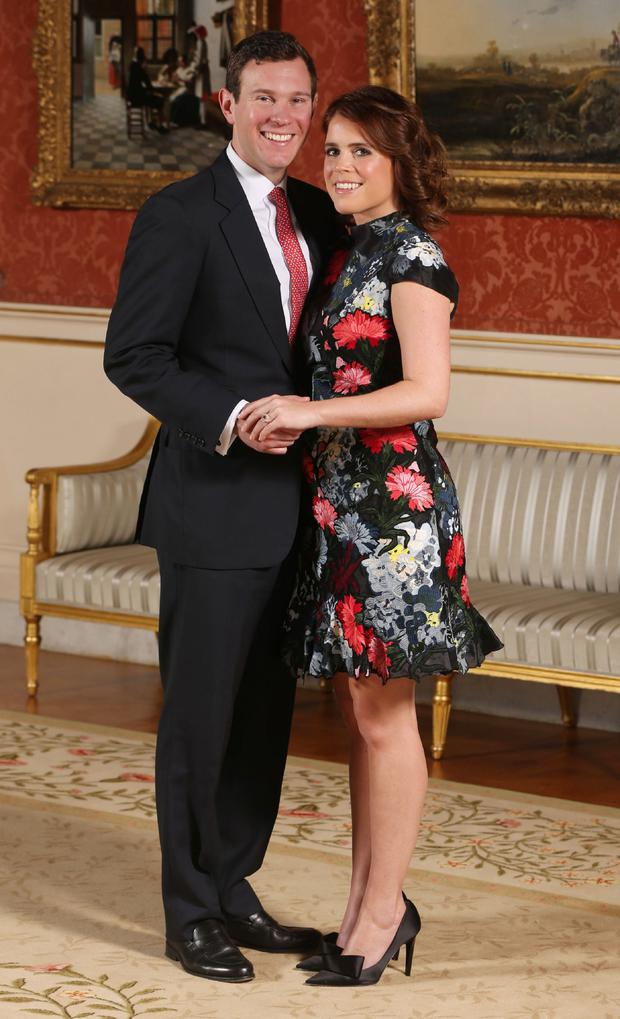 Britain's Princess Eugenie of York with her fiance Jack Brooksbank