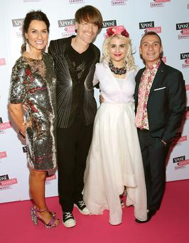 Xpose awards: Julie Strang, manager of Benefit Cosmetics in Ireland, New York-based designer Don O'Neill, , his husband, Pascal Guillermie and Lou Conlon, Benefit's marketing manager