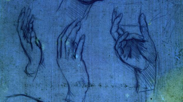 Studies of hands for the Adoration Of The Magi as seen under ultraviolet light (Royal Collection Trust/PA)
