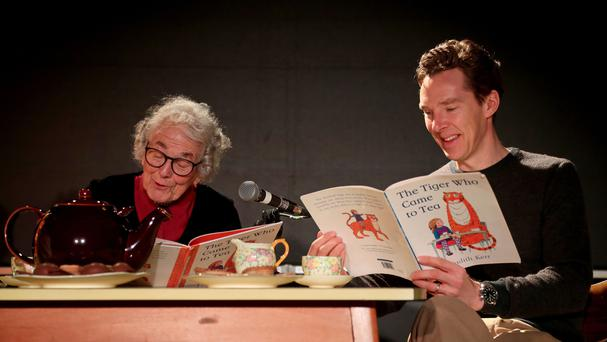 Judith Kerr and Benedict Cumberbatch during a reading of The Tiger Who Came To Tea (Gareth Fuller/PA)