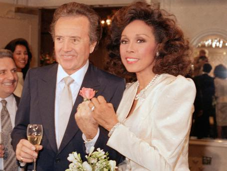VELVETY VOICE: Vic Damone, pictured with ex-wife Diahann Carroll, topped the charts with 'On the Street Where You Live'