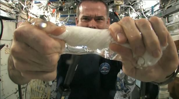 Interstellar: Astronaut Chris Hadfield's video of him slowly wringing out a dishcloth while in space has been watched more than 13 million times by online viewers