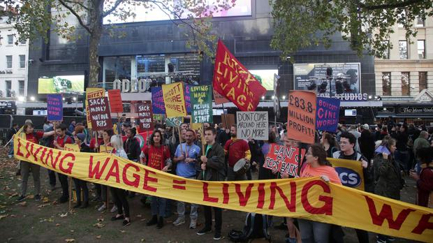 Picturehouse staff stage a protest at the BFI London Film Festival in Leicester Square (Yui Mok/PA)
