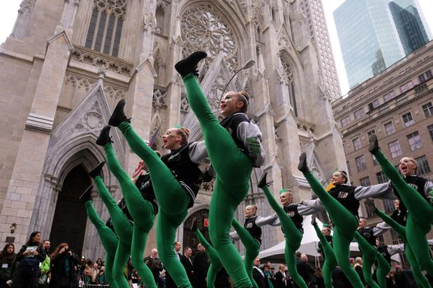 No floats: A group of dancers march during the St Patrick's Day parade in New York. Photo: Getty