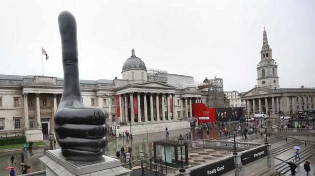 The 'Really Good' by David Shrigley became the eleventh sculpture to be installed on Trafalgar Square's fourth plinth in September 2016 (Philip Toscano/PA)