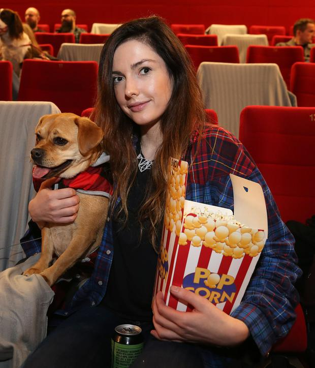 Pawsitive review: Saoirse Colgan with her dog Roisin at the Light House Cinema. Photo: Damien Eagers