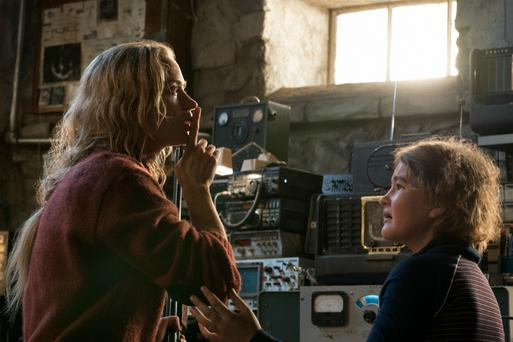 Quiet riot: Emily Blunt hushes Millicent Simmonds. Photo: Jonny Cournoyer