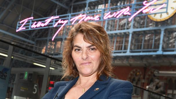Tracey Emin unveils her 20-metre-long work, I Want My Time With You, 2018, part of the Terrace Wires installation programme at St Pancras International, London (John Stillwell/PA)