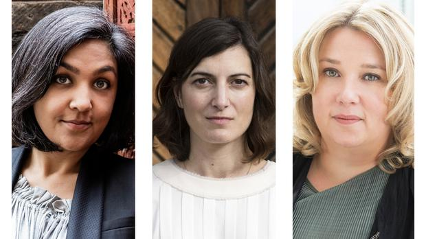 Shortlisted authors Preti Taneja, Paula Cocozza and Gail Honeyman (Desmond Elliott/PA)