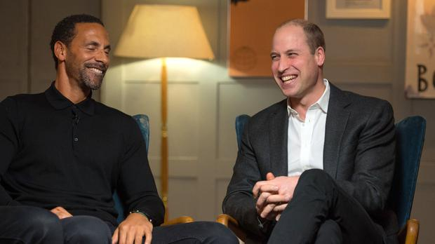 The Duke of Cambridge (right) with Rio Ferdinand (Dominic Lipinski/PA)