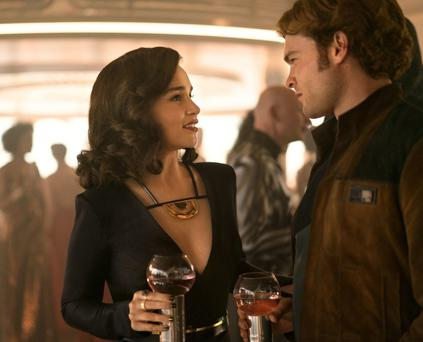Flying Solo: Han (Alden Ehrenreich) with his girlfriend Qi'ra (Emilia Clarke).