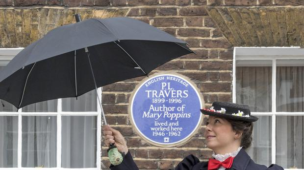A blue plaque has been installed outside the former home of Mary Poppins author P. L. Travers. (English Heritage)