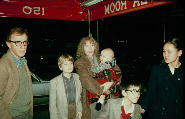 Woody Allen, Fletcher Previn, Mia Farrow (holding Dylan Farrow), Moses Farrow and Soon-Yi Previn