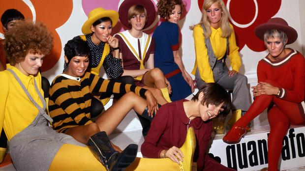Mary Quant (foreground), with models showing her new shoe creations (PA)