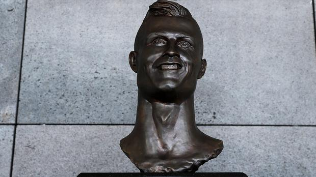 The Cristiano Ronaldo statue which has been replaced at an airport in Madeira (Adam Davy/PA)