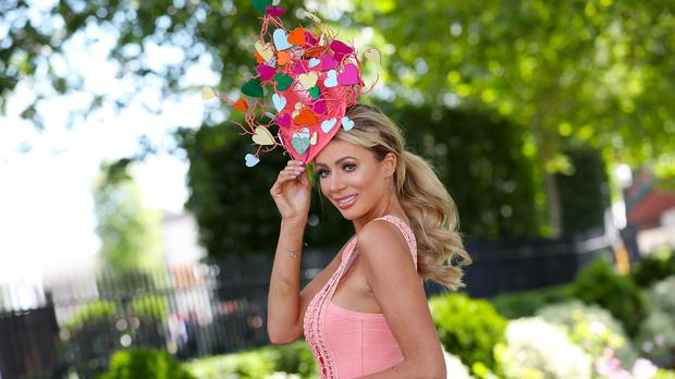 Love Island's Olivia Attwood rocks hat inspired by the show at Royal Ascot (Steve Parsons/PA)
