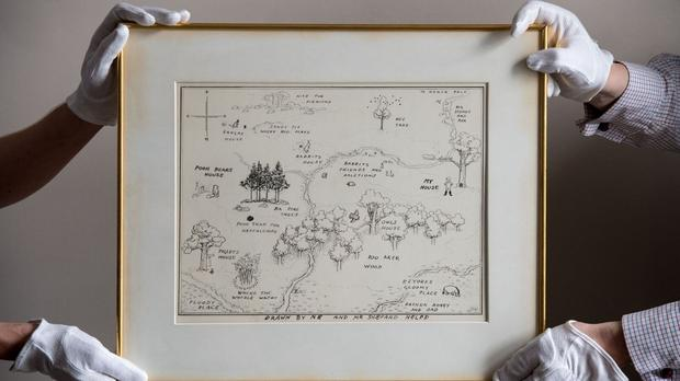 An original illustrated map of Winnie-The-Pooh's Hundred Acre Wood has sold for a record £430,000. (Sotheby's)
