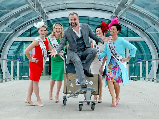 Daithi O Se and contestants in the 2013 Rose of Tralee pageant