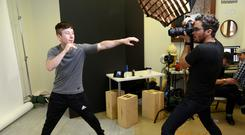 Seconds out: Barry Keoghan in playful mood during a publicity shoot for 'American Animals'