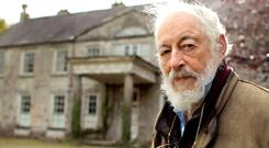 GIANT OF BOHEMIAN DUBLIN: The late JP Donleavy in 2011 outside his home on the outskirts of Mullingar. Photo: Gerry Mooney
