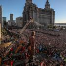 The Royal De Luxe theatre company's puppets the Giants perform in Liverpool (Peter Byrne/PA)