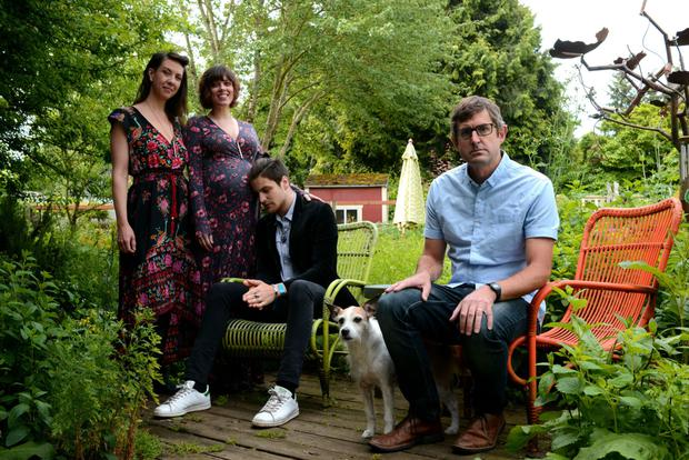 It's complicated: Louis Theroux with (from left) Joelle, AJ and Mattias, who are part of an extended polyamorous family