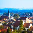 The lively suburb of Zemun, with the centre of Belgrade in the background