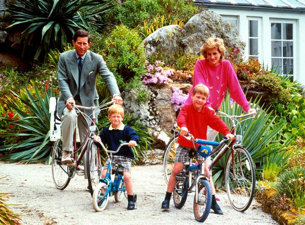 Prince Charles with Diana, William and Harry in 1989