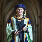 Eddie Izzard with his honorary degree from York St John University (Danny Lawson/PA)