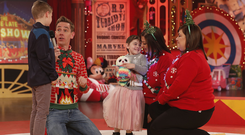 Cousins Grace and Scott on the Late Late Toy Show Photo: RTE