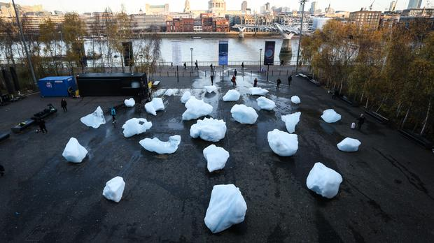 Ice Watch has created from 24 blocks of ice (Matt Alexander/PA)