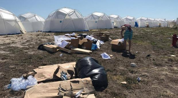 Disaster tents were erected as 'luxury accommodation' on the site