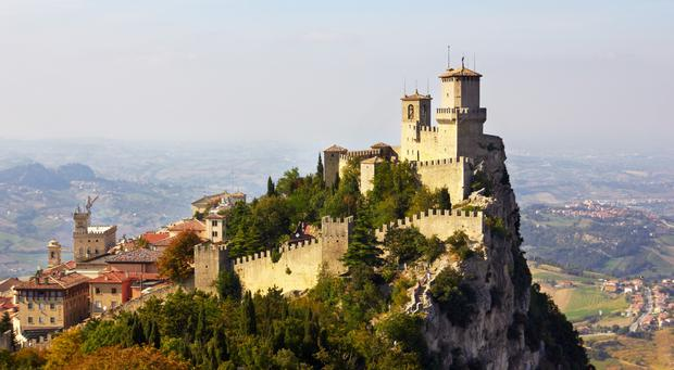 The fortress of Guaita, one of the three towers overlooking the Republic of San Marino