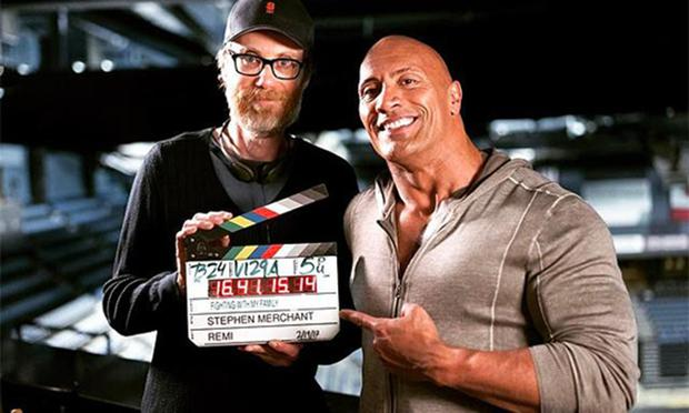 Stephen 'the director' Merchant and producer Dwayne 'the Rock' Johnson