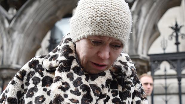 Actress Tina Malone leaves the High Court in London (PA)