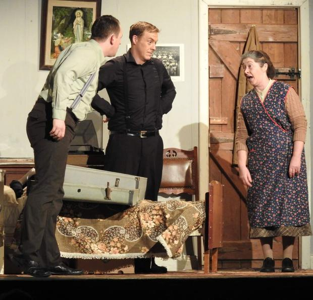 Kris Cowming, John Stack and Helen Aherne of Brideview Drama Group star in Philadelphia, Here I Come! Photo: Eoin O'Hagan