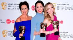 Big wins: Fiona Shaw, Phoebe Waller-Bridge and Jodie Comer with their BAFTA awards. Photo: Ian West/PA Wire