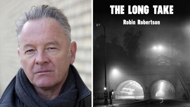 Robin Robertson with the cover of his novel The Long Take (Niall McDiarmid/Man Booker Prize/PA)