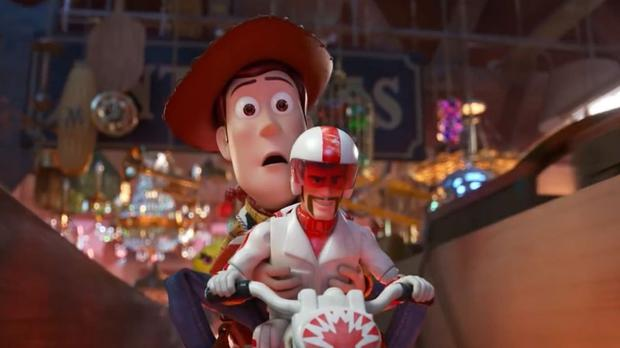 Woody with Duke Caboom, who is hilariously voiced by Keanu Reeves
