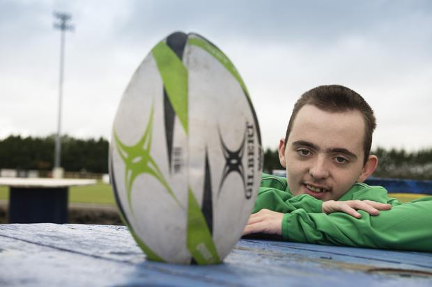 Michael Mullin, who is 14, is involved in inclusion rugby, run by volunteers at Corinithians Rugby Club in Galway. Photo: Andrew Downes, xposure