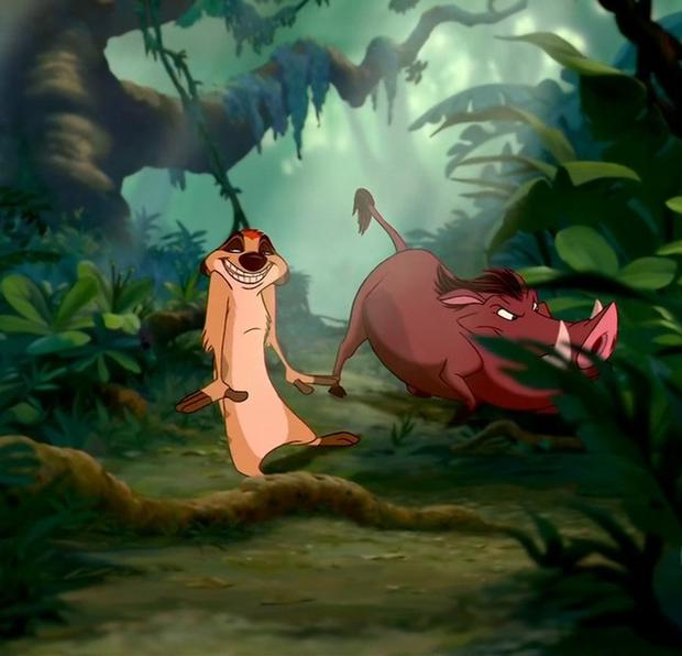 Timon and Pumbaa in the 1994 animation