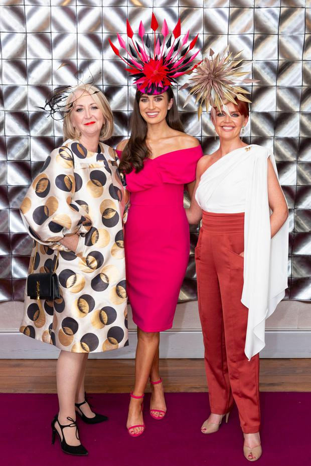 Bairbre Power pictured, left to right, with outgoing Miss Ireland, Aoife O'Sullivan, and Kinsale-based milliner, Tina Hemlock-Coyne. Photo: Martina Regan