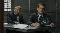 Profilers: Bill Tench (played by Holt McCallany) and (right) Holden Ford (played by Jonathan Groff), in Netflix show Mindhunters