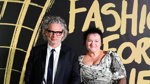 Dexter Fletcher and Dalia Ibelhauptaite arriving on the red carpet for Naomi Campbell's Fashion For Relief Gala, held at the British Museum (Ian West/PA)