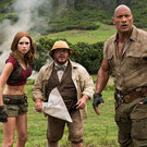 Stars of Jumanji: The Next Level (l-r) Kevin Hart, Karen Gillan, Jack Black and Dwayne Johnson