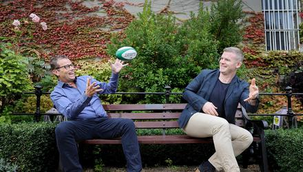 Paul Howard and Gordon D'Arcy horsing around in the garden at the Mansion House in Dublin. Picture by Frank McGrath
