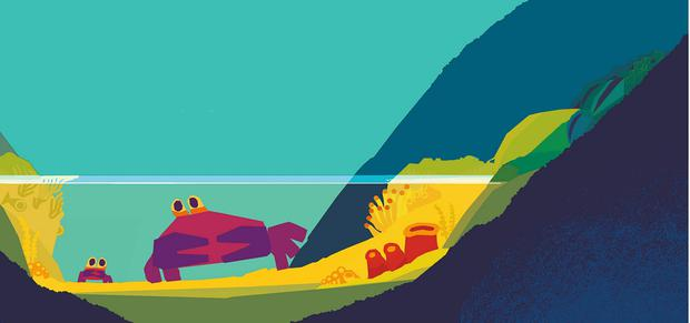 Artwork from Don't Worry, Little Crab by Chris Haughton