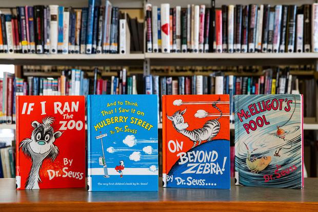 Dr Seuss children's books are displayed at the North Pocono Public Library in Moscow, Pennsylvania, yesterday - they are among six books that will no longer be published because of racist and insensitive imagery. Photo: Christopher Dolan/The Times-Tribune via AP