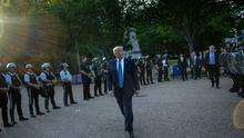 US President Donald Trump leaves the White House on foot to go to St John's Episcopal church